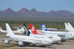 Three brand new Boeing 747-8s, delivered straight from Boeing to the Arizona desert.