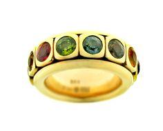 Ring, 18 Kt. geelgoud, multicolor