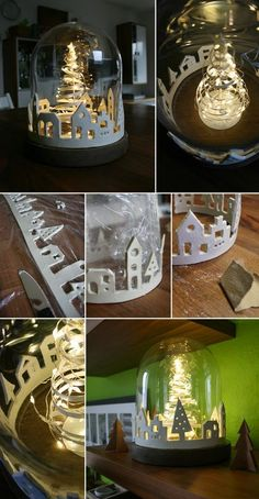 Do it yourself: Make a city of lights out of modeling clay - Gingered Things DIY clay city xmas christmas decorat. Decorating With Christmas Lights, Xmas Decorations, Christmas Projects, Holiday Crafts, Summer Crafts, Fall Crafts, Easter Crafts, Noel Christmas, Christmas Ornaments