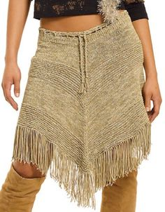 """Free Knitting Pattern for Belle Star Skirt - Easy fringed skirt that you could also wear as a poncho. Designed by Berroco. Sizes Waist – 28(29-30-32-34)"""""""