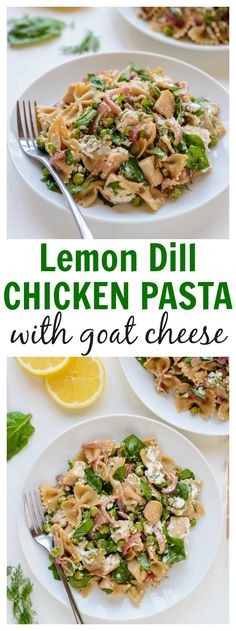 Easy Lemon Dill Chicken Pasta with Goat Cheese