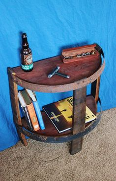 Wine & Whiskey Barrel End Table - French Oak Red Wine Barrel Table, Barrel Shelf, Reclaimed Table, W Whiskey Barrel Decor, Wine Barrel Table, Wine Barrel Furniture, Whiskey Barrels, Industrial Side Table, Rustic End Tables, Whiskey Room, Farmhouse Trim, Living Room End Tables