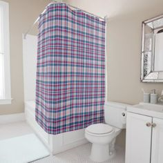 Red And Blue Classic Plaid Shower Curtain