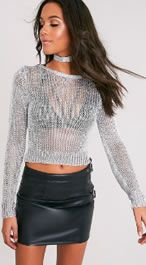 Pretty Little THing Silver Metallic Cropped Jumper