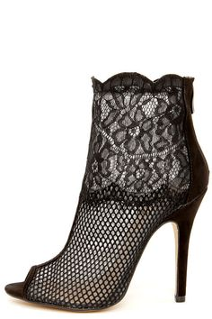 906a4bb46 Chinese Laundry Jeopardy Black Mesh and Lace Booties at Lulus.com! Pretty  Shoes