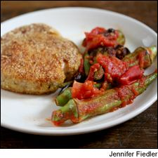 Pan-seared pork chops and okra with a Portuguese red wine: A side dish of okra, tomatoes and black olives stars in this easy summer meal.