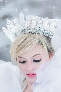 Elsa Crown Winter Crown Crystal Crown Wedding by PrettyRockGirl