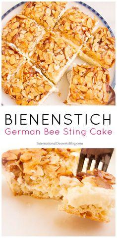 "I love this creamy, crunchy honey almond German ""Bee Sting Cake""! SO GOOD! #germany #cake #dessert #dessertrecipies"