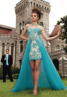 2015 Two Piece Prom Dresses with Hi Lo Detachable Beaded Long Train Blue Lace Homecoming Gowns For Teens Sale Cheap Plus Size Vestidos Online with $113.22/Piece on Sarahbridal's Store   DHgate.com
