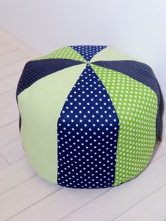 Kids floor cushion  green and navy blue round by Customquiltsbyeva
