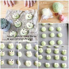 Frog Cookies, Kawaii Cookies, Matcha Cookies, Easy Cookie Recipes, Sweets Recipes, Vegan Treats, Vegan Desserts, Japanese Cookies, Custard Buns