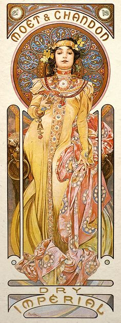 Art Nouveau -- Mucha influenced a fluid silhouette for women, fluid lines, floral motifs, and a woman's natural body and hair. Organic qualities of rhythm and harmony influenced by exotic cultures. Art Nouveau really focuses on detail.