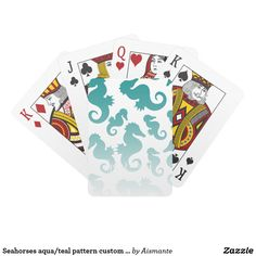 Seahorses aqua/teal pattern custom background playing cards