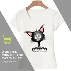 To stay dazzling as possible, you'll need this women's printed tom cat t-shirt that comes with comfortable regular sleeves. Add a vivid hue accent to your wardrobe that will look appealing on any women. This magnificent clothing keeps yourself look stylish. Explore a great style with this cat-printed t-shirt.