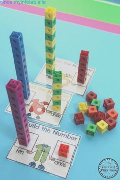 Kindergarten Math – Numbers Building-Numbers-Math-Activity-for-Kids. Kindergarten Math Activities, Numbers Kindergarten, Math Numbers, Preschool Math, Math Classroom, Teaching Math, Teaching Teen Numbers, Decomposing Numbers, Number Activities