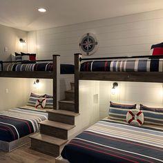 Room Design Bedroom, Home Room Design, Home Interior Design, Bedroom Decor, House Design, Bunk Bed Rooms, Bunk Beds Built In, Corner Bunk Beds, White Bunk Beds