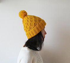Hand Knitted Hat in Yellow, Beanie with Pom Pom, Women Kn... https://www.amazon.com/dp/B01J205JAE/ref=cm_sw_r_pi_dp_x_dHHeAbYSRE4Y7