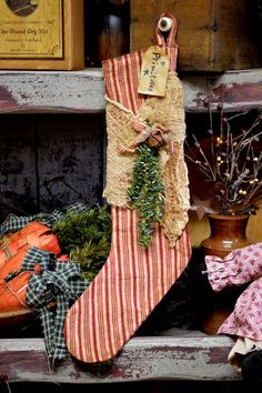 Candy Cane Primitive Stocking by BishopsHollow on Etsy