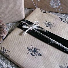 Hand Printed Eco Friendly Vintage Black Bee Gift Wrap by Paper Beagle £2.45