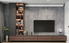 Modern apartments - interior design by VYMIR Design Living Room Wall Units, Living Room Tv Unit Designs, Home Living Room, Tv Wall Unit Designs, Bedroom Tv Unit Design, Modern Tv Room, Modern Tv Wall Units, Modern Tv Unit Designs, Modern Living Room Wallpaper