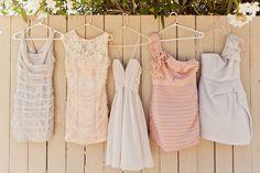 grey, nude, blush bridesmaids