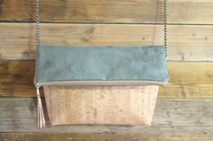 cork foldover clutch/ crossbody bag/cork by SunbeamSantorini
