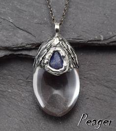 Quartz pendant,Crystal quartz pendant,men necklace,Tanzanite pendant,Quartz necklace,Women pendant,Antique style,Rustical,Crystal by PeagerFantasyWorld on Etsy