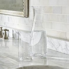 Shop Oasis Bed Carafe with Glass. Handy carafe is at the ready to quench late-night thirsts, cleverly combining water pitcher and tumbler in a self-contained unit. Tumbler acts as a lid over the tapered carafe. Guest Room Essentials, Water Carafe, Glass Canisters, Bath Storage, Soap Dispensers, Stylish Beds, Wood Vanity, Canvas Home, Simple Bathroom