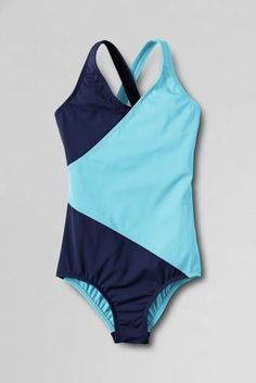 Girls' Smart Swim™ Colorblock Wrap One Piece Swimsuit