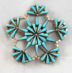 Signed Vintage Zuni Sleeping Beauty Needlepoint Cluster Pin & Pendant