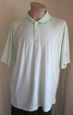 PETER MILLAR Men's Mint Green White Stripe GOLF Druid Hills Polo Shirt L Large #PeterMillar #PoloRugby