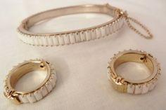 Fabulous Milk glass side open bangle Bracelet and Earring Set from vintageshari on Ruby Lane