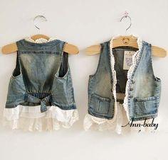 Denim and lace vest - DIY Clothes Diy Jeans, Jeans Denim, Denim Waistcoat, Denim Vests, Boys Waistcoat, Lace Vest, Lace Cardigan, Denim And Lace, Blue Denim