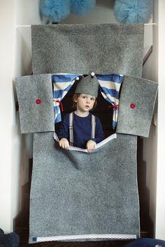"Waldorf style, wool felt doorway puppet theater ""Grey lighthouse"""