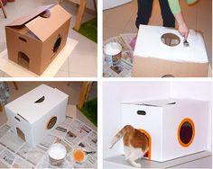 casa ara gato de caja de carton