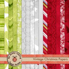 Vintage Christmas Textured Papers Red Green and Silver INSTANT DOWNLOAD!  Papers Only.