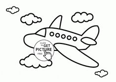 Airplane in the Sky coloring page for kids, transportation coloring pages printables free - Wuppsy.com