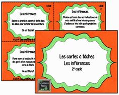 Les créations de Stéphanie : Les cartes à tâches en lien avec les inférences… Education And Literacy, French Resources, French Immersion, French Class, Teaching French, Elementary Math, French Language, Teaching Reading, Anchor Charts