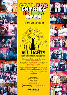 We have opened the submissions for third edition of All Lights India International Film Festival which will be held during 07th October to 10th October 2017 at Ramoji Film City, India - the world's largest film city. The deadline to avail EARLY BIRD offer will be end on January 31, 2017. Submit your Short Films, Documentaries and Feature Films through https://filmfreeway.com/festival/aliiff More details are available on http://www.aliiff.com/filmsubmission Do it asap and avail early bird…