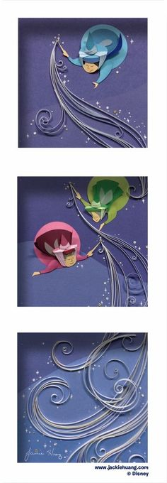Lovely three piece framed picture, a great subtle use of #quilling featuring the fairy god mothers from sleeping beauty.   Disney Crafts   Disney Crafts DIY   Disney Crafts for Adults  