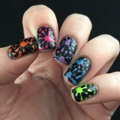 Rainbow Nails Using Glam Polish Truly Outrageous Collection - by Polish And Paws | Rainbow paint splatter splotches using Glam Polish, Pretty Serious Cosmetics Absence and Whats Up Nails Vinyls to show support for the victims of Orlando | Aussie Indie Nails | Cruelty Free Beauty | Pride