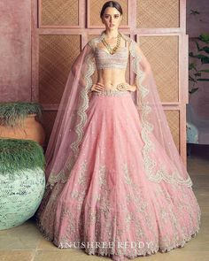 Be a classy bride this summer in this refreshing pink lehenga by 🌸 ⠀ .⠀ Tag the bride-to-be whom you want to see in this beautiful outfit on their big day😍 ⠀ . Pink Bridal Lehenga, Designer Bridal Lehenga, Pink Lehenga, Indian Bridal Lehenga, Designer Lehanga, Bridal Dupatta, Lehenga Dupatta, Bridal Lehenga Online, Lehenga Style