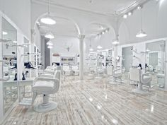 White, white, white, white... I could work happily in an all white salon space :)