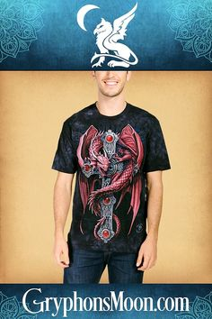 Gothic Guardian T-Shirt - Isn't he magnificent! Blood red and battle ready— this dragon is ready for a showdown. Based on artwork by Anne Stokes. T-shirts are 100% cotton, and are printed with environmentally safe, water-based inks. #Dragon #Dragons #DragonLover #AnneStokes #AnneStokesArt #FantasyArt #DragonArt #HereBeDragons #FantasyCreature #Mythical #Fantasy #Enchanted #DragonTee #DragonTShirt #TShirt #WitchyWear #PaganShop #WitchShop #BeTheMagic #EverydayMagic Red Dragon, Dragon Art, Pagan Shop, Here Be Dragons, Witch Shop, Anne Stokes, Moon Logo, Great Father's Day Gifts, Dragon Design