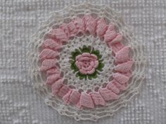 Vintage Hand Crochet Pink White Rose Lace Place Mat Doily | eBay