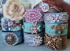 Angel wing Leather cuff, upcycled belt bracelet 'Sky Angel', sky blue, rhinestones, distressed, country rocker chic. $130.00, via Etsy.