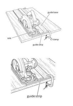 Tricks of the Trade Make a straight cut every time using a circular saw by creating a guide out of ½-inch scrap plywood to help you.Make a straight cut every time using a circular saw by creating a guide out of ½-inch scrap plywood to help you. Woodworking Courses, Woodworking Saws, Woodworking Guide, Woodworking Furniture, Custom Woodworking, Woodworking Projects Plans, Carpentry, Wooden Furniture, Woodworking School