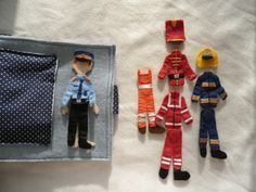 Babi, the policeman, the fireman, the soldier, the ambulanceman and the garbageman;) in his quiet book Quiet Books, Diy And Crafts, Truck, Felt, Cars, Space, Ideas, Floor Space, Felting