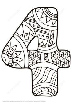 Number 4 Zentangle coloring page from Zentangle Numbers category. Select from 25143 printable crafts of cartoons, nature, animals, Bible and many more. Free Printable Coloring Pages, Coloring Book Pages, Coloring Pages For Kids, Printable Numbers, Printable Crafts, Printables, Funny Numbers, Counting For Kids, Alphabet And Numbers
