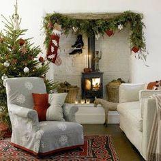 Nordic Christmas- love the slipcover & pillow! Christmas Living Rooms, Cottage Christmas, Christmas Room, Merry Little Christmas, Noel Christmas, Scandinavian Christmas, Primitive Christmas, Country Christmas, Winter Christmas